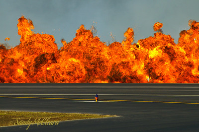 CF-18 flight demo (pyrotechnics for simulated bombing run).