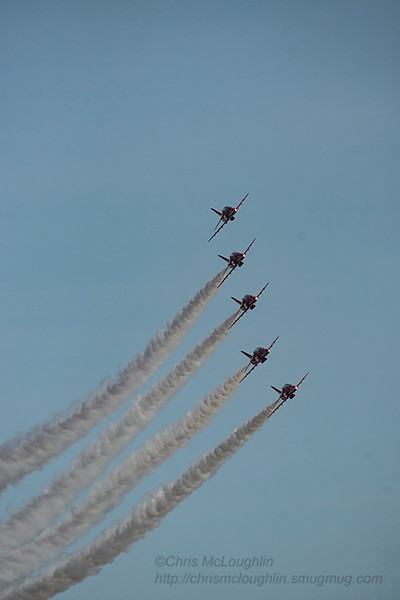 Red Arrows practice display at RAF Linton-on-Ouse