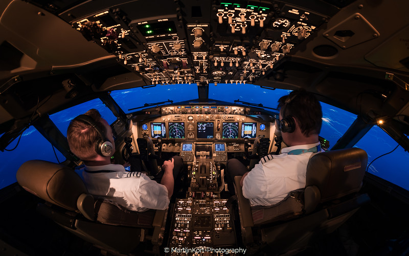 Cockpit at twilight