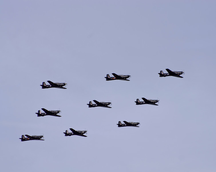 Formation of 9 RAF Tucanos