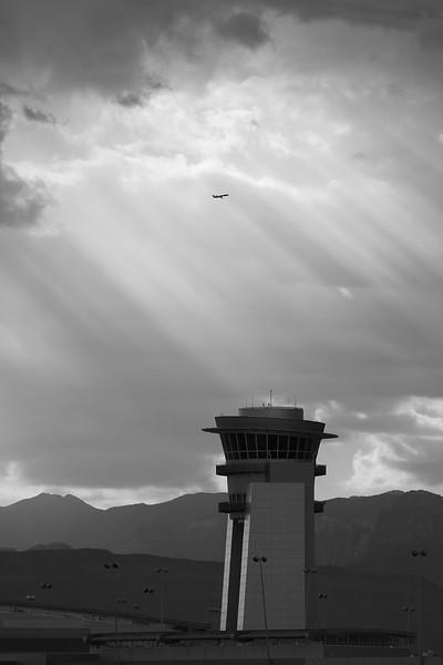 The D Gate tower at Las Vegas McCarran International Airport.