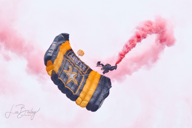 US Army Golden Knights Parachute Team dropped in directly onto the tarmac