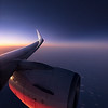 Jet engine at sunset