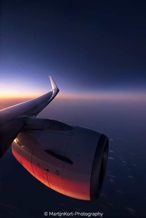 Jet engine at sunset