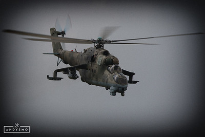MI-24 Hind in the clouds