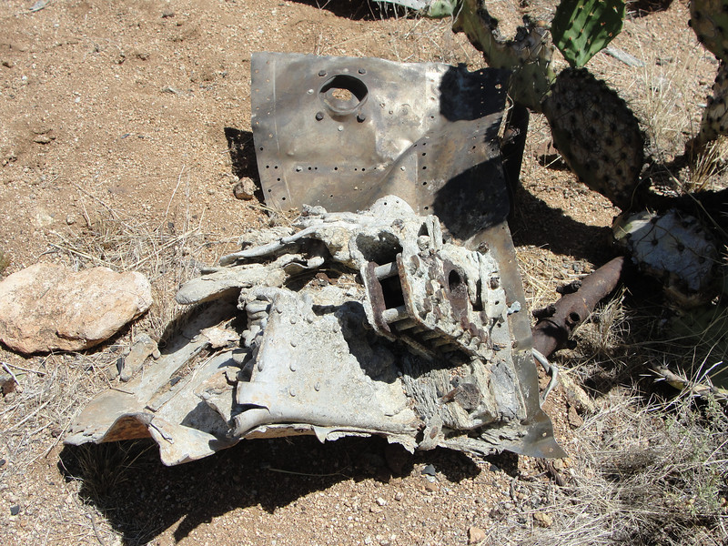 These sections of firewall and engine mount were the largest pieces still at the site.  From photos of the site taken by my friend Trey Brandt, I get the impression these larger pieces have been scattered about over the years.