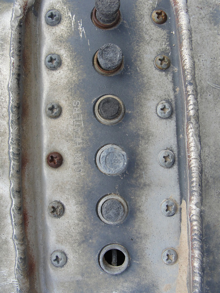 "Circuit breaker panel for the gun heaters, one for each of the six guns.  According to the Dash One, gun heaters could be found on ""winterized"" airplanes."
