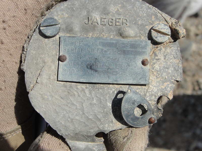 The back plate from a Jaeger Type B-3 G-meter.