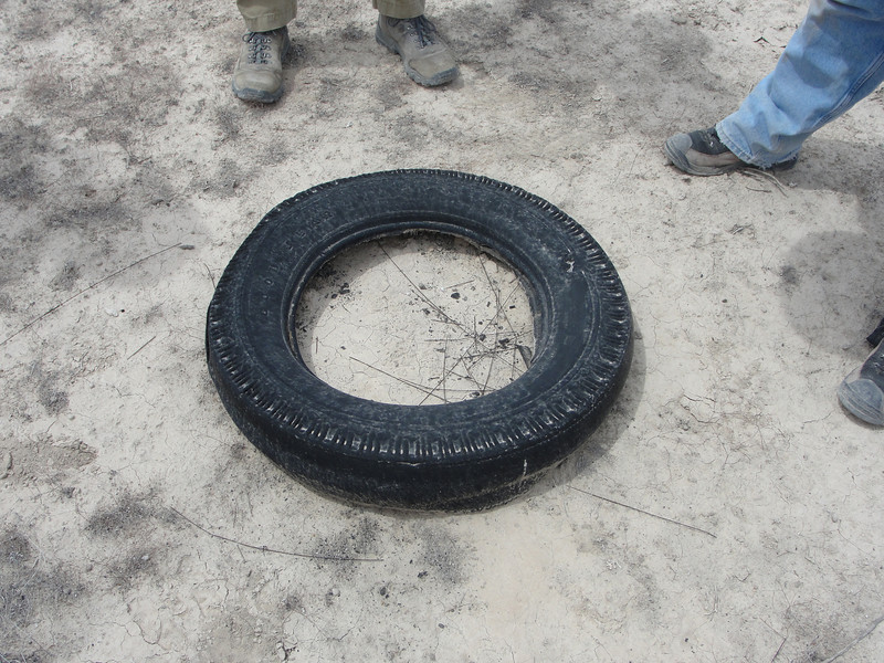 You never know what you will find...this is a truck tire.  There was a trail of rubber bits leading to it, bad place to have a blowout!