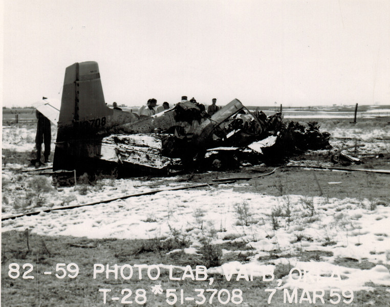 North American T-28A Trojan 51-3708 7 March 1959<br /> <br /> Nearly 5 years after the May 1954 mishap, the airplane crashed after entering a spin following a power-on stall. Both pilots were killed.