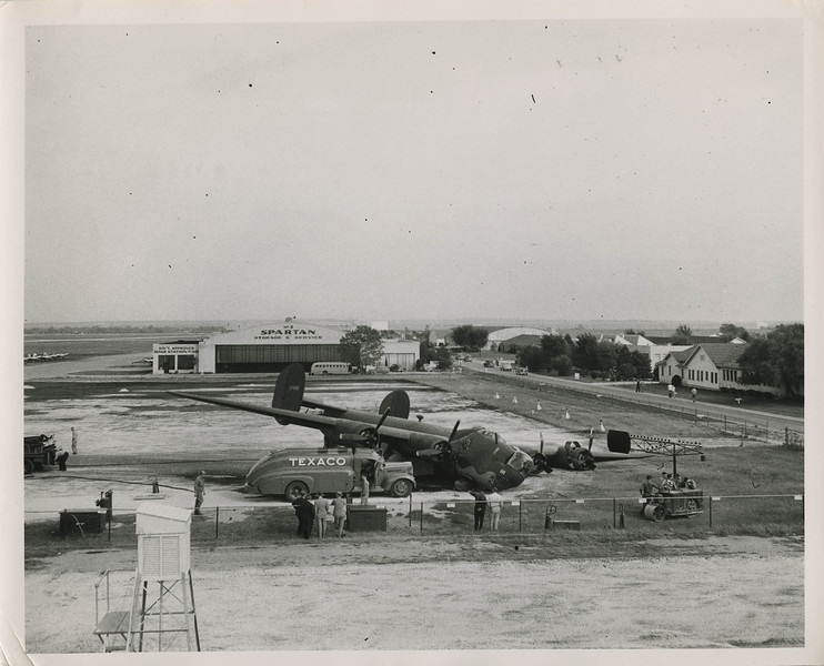 Consolidated B-24H Liberator 42-7685 10 October 1943<br /> <br /> This runway overrun was at Tulsa Municipal Airport. Though the crew had ordered the airplane to be serviced with 100-octane fuel, only 91 was available. That was compounded by bad weight and balance information that allowed the airplane to be inadvertently overloaded. Photo courtesy of Carl Gregory.