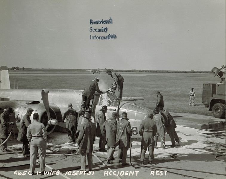 North American B-25 44-30978<br /> <br /> This airplane gets attention from the Vance AFB fire department after a belly landing on 10 September 1951.