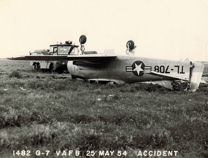 North American T-28A Trojan 51-3708 25 May 1954<br /> <br /> This airplane was damaged when it flipped over after running off the end of the runway during an aborted touch and go. The airplane was righted, repaired, and flew again.<br /> <br /> Five years after this accident, 51-3708 was involved in another mishap. The airplane was destroyed and both pilots killed.