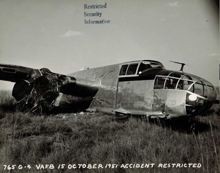 North American B-25 44-31193 15 October 1951<br /> <br /> There were no injuries among the crew when this airplane was forced to belly land after an engine failure near Red Rock, OK. The airplane was enroute to Offutt AFB, NE from Fort Worth, TX.