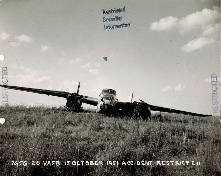 North American B-25 44-31193 15 October 1951<br /> There were no injuries among the crew when this airplane was forced to belly land after an engine failure near Red Rock, OK. The airplane was enroute to Offutt AFB, NE from Fort Worth, TX.