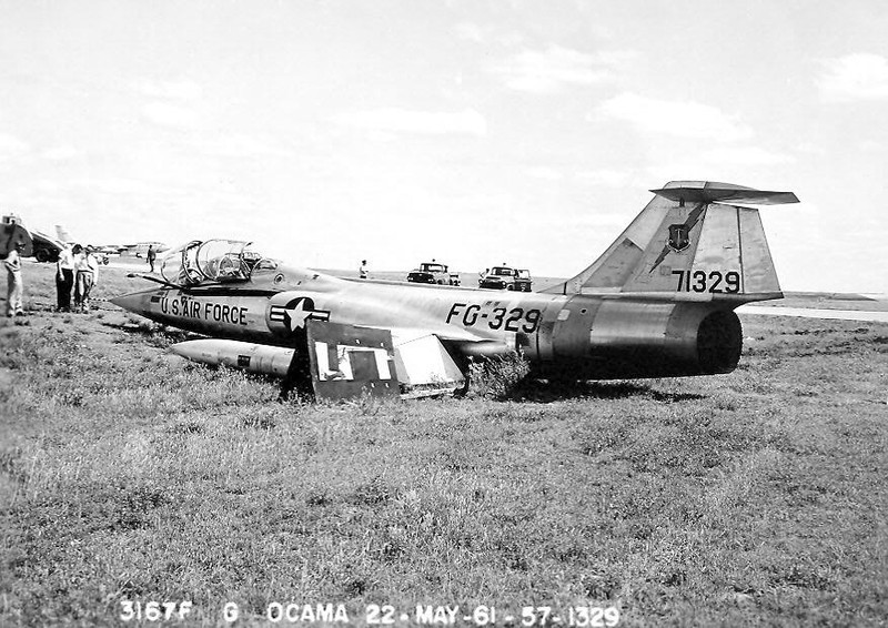 Lockheed F-104D Starfighter 57-1329<br /> <br /> This F-104 departed the runway at Tinker AFB, OK, during a crosswind landing on 22 May 1961.  The aircraft was destroyed in a crash near Moron, Spain, only three years later. Photo courtesy of Chris Baird.