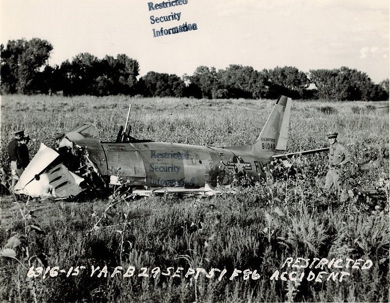 North American F-86A Sabre 49-1049 29 September 1951<br /> <br /> This airplane was being ferried from Long Beach, CA, to Albuquerque, NM when the pilot overshot his destination and ran out of fuel in the Oklahoma Panhandle. The pilot tried to eject, but he was too low and was killed when his seat hit the ground.