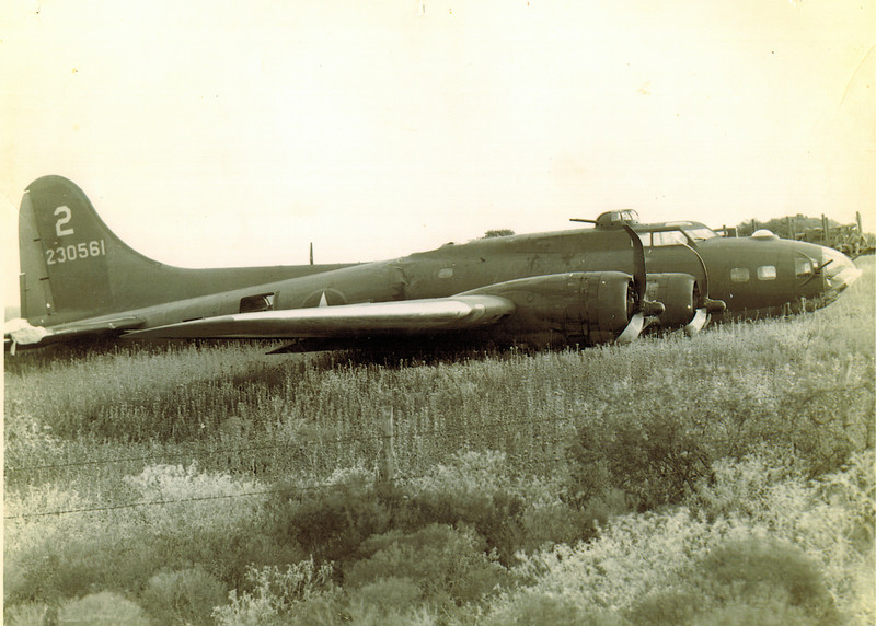 Boeing B-17F 42-30561 18 August 1943<br /> <br /> This airplane was based at Dalhart AAF, TX, when it bellied in near Mooreland, OK, on 18 August 1943.
