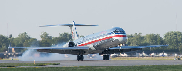 American Airlines MD-80 landing at Oshkosh 2015