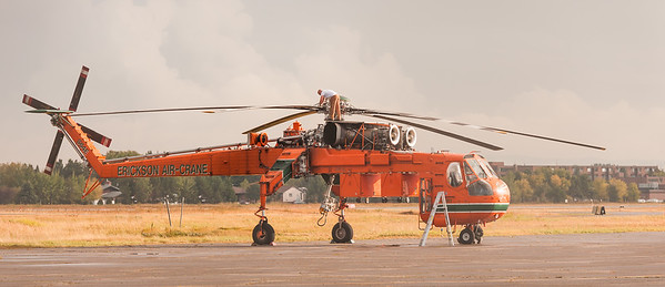 S-64 Air Crane heavy lift helicopter at Thunder Bay Ont