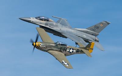 U.S. Air Force Heritage Flight P-51 Mustang and F-16 Falcon at Oshkosh 2016