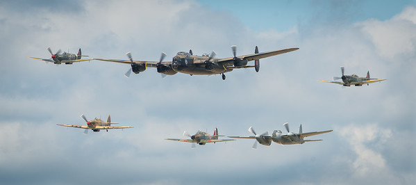 Lancaster, Spitfires, Hurricanes & Mosquito in formation over Hamilton 2013