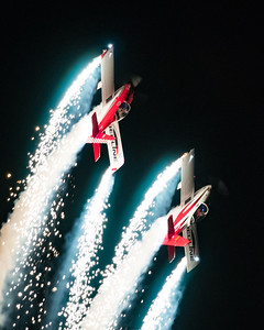 Redline Airshows Van's RV-8 night airshow with pyrotechnics
