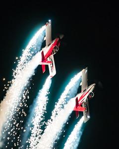 Redline Airshows Van's RV-8 night airshow with pyrotechnics
