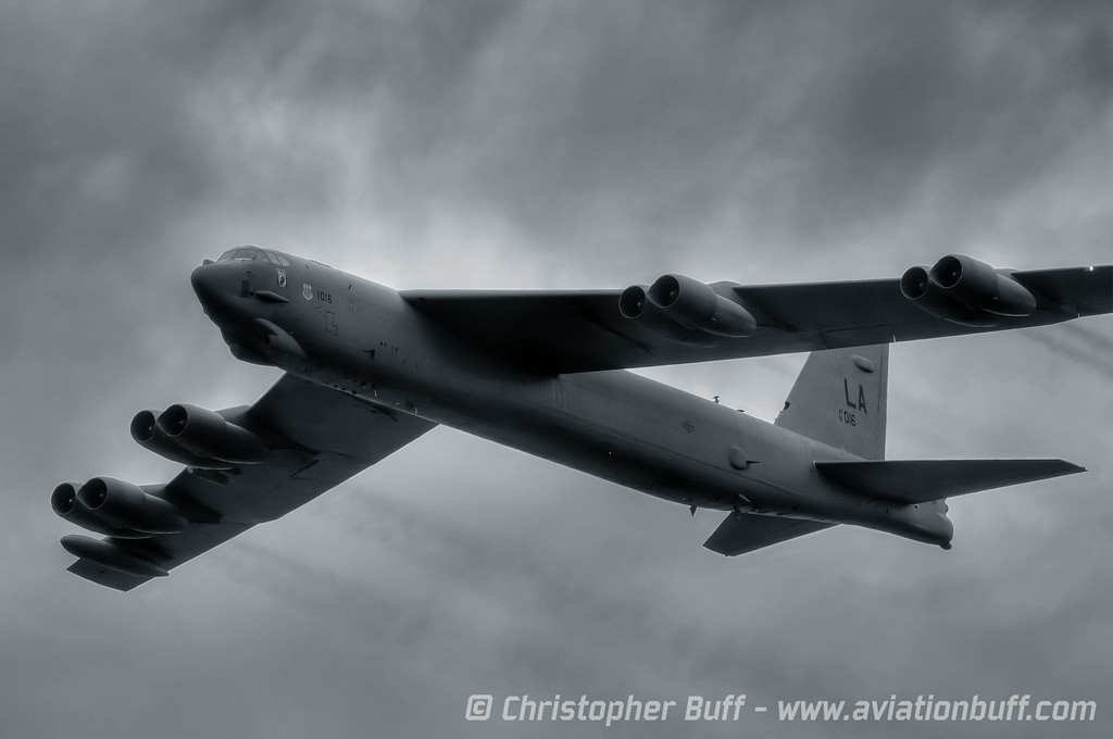 "Cold Warrior - A B-52 Stratofortress or ""BUFF"" making a high speed pass under a heavy cloud deck. Vidalia, Georgia"