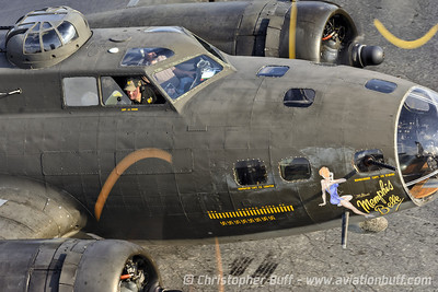 Swinging around - The B-17 Memphis Belle swings around to drop off the last load of passengers for the day. Christopher Buff, www.Aviationbuff.com