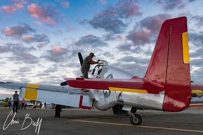 Tucking in Red Tail for the night - 2017 Christopher Buff, www.Aviationbuff.com