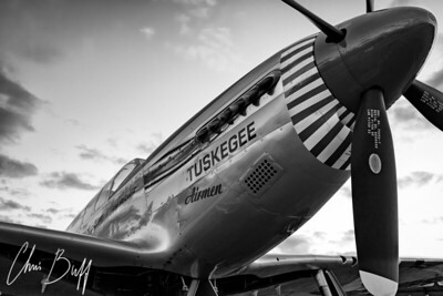 Red Tail at Dusk in Black and White - 2017 Christopher Buff, www.Aviationbuff.com