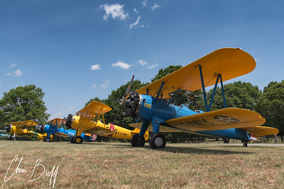 Row of Stearman at Peach State Aereodrome