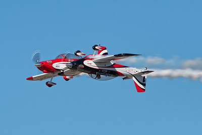 Redline Airshows with one upright and one inverted