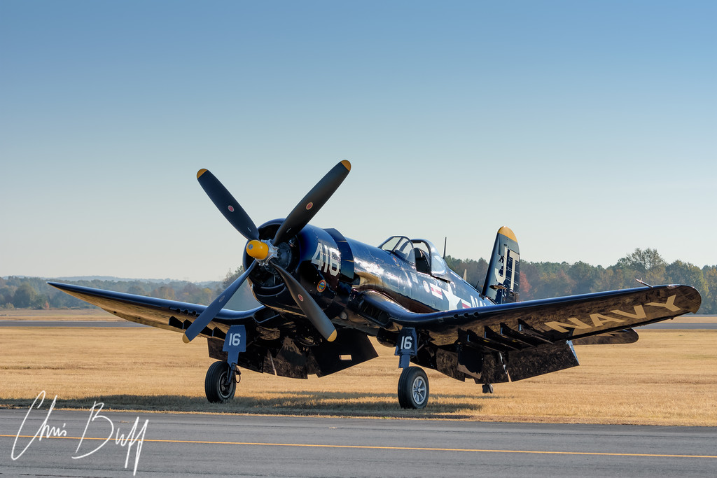 Corsair on the Grass  - 2016 Christopher Buff, www.Aviationbuff.com