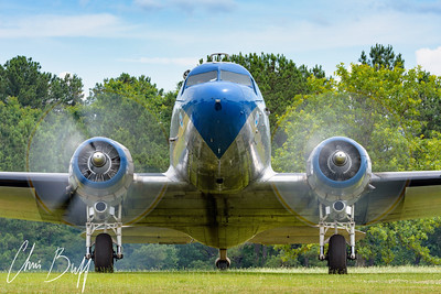 DC-3 with Two Turning - 2018 Christopher Buff, www.Aviationbuff.com