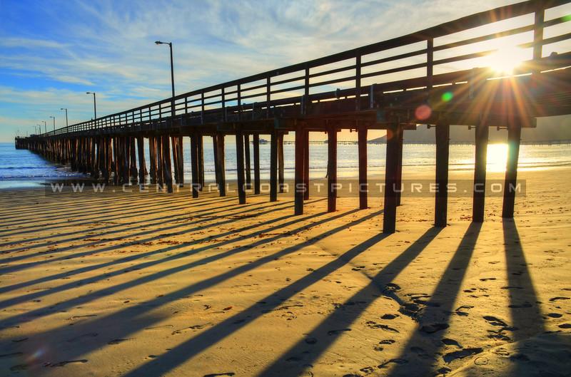 Avila Beach pier shadows