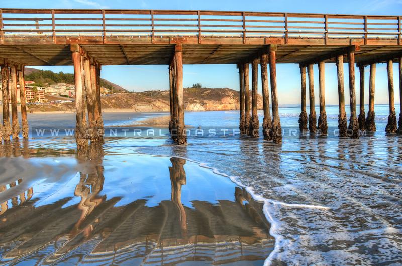 Avila Beach pier reflection