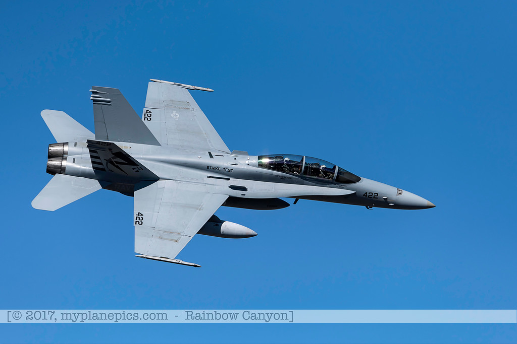 F20170201a122008_0326-F-18 Hornet-Strike Test-SD-No422-over Rainbow Canyon-Air Test and Evaluation Squadron 23 VX-23