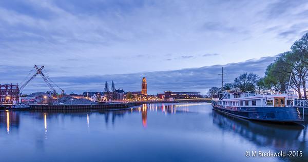 HDR Cityscape Zwolle tijdens Blauwe uurtje