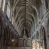 The arches of the cathedral looking west back over the high altar  towards the west exit door.