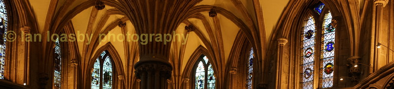 A panoramic shot of the arches in the chapter house.