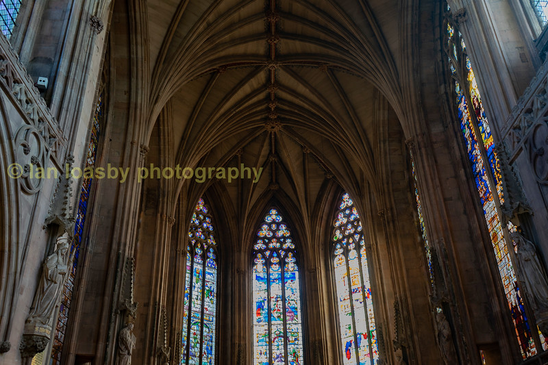 Stained glass, & arches  in the lady chapel