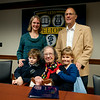 University of Rochester professor Esther Conwell, center, is surrounded by her son  Lewis Rothberg, top right, his wife Shelby Nelson and their children Vivian, 6, right, and Charles, 8 after a news conference announcing Conwell's receipt of the National Medal of Science at the University of Rochester October 15, 2010.  //photo:  J. Adam Fenster/University of Rochester