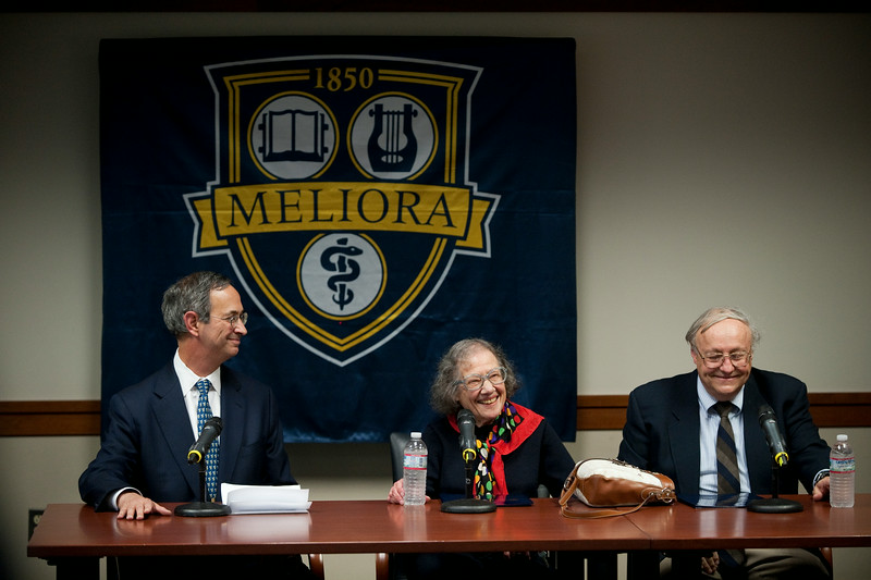 University of Rochester professor Esther Conwell, flanked by UR president Joel Seligman, left and Department of Chemistry Chairman Robert Boeckman, smiles during a news conference announcing her receipt of the National Medal of Science at the University of Rochester October 15, 2010. At left is //photo:  J. Adam Fenster/University of Rochester