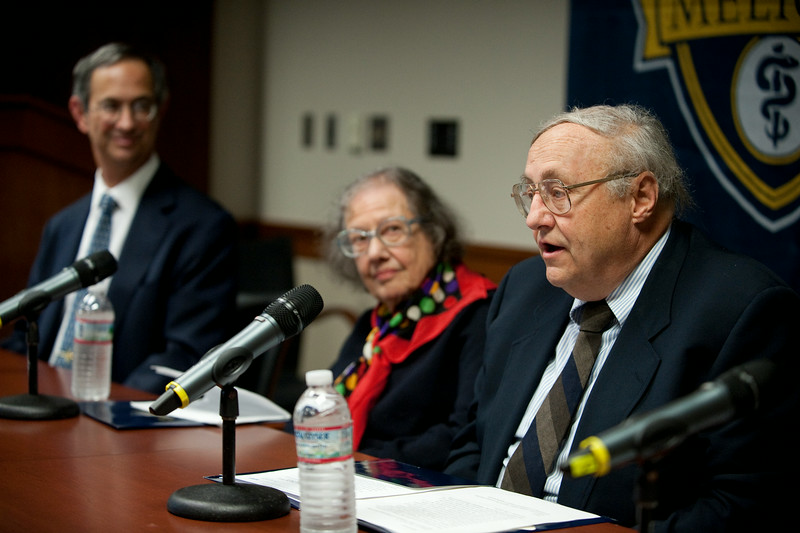 University of Rochester Department of Chemistry Chairman Robert Boeckman speaks during a news conference announcing that professor Esther Conwell, ctr has received the National Medal of Science at the University of Rochester October 15, 2010. At far left is UR president Joel Seligman. //photo:  J. Adam Fenster/University of Rochester