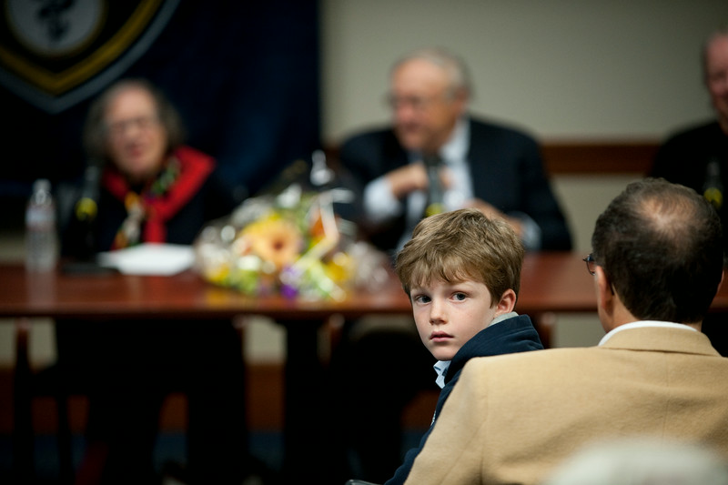 Charles Rothberg, 8 of Pittsford, looks at a reporter during a news conference for his grandmother, University of Rochester professor Esther Conwell, who received the National Medal of Science at the University of Rochester October 15, 2010.  //photo:  J. Adam Fenster/University of Rochester