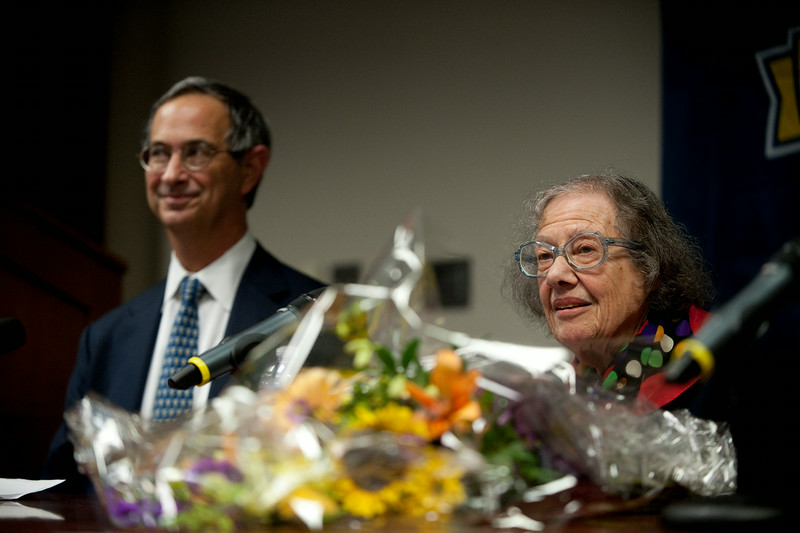 University of Rochester professor Esther Conwell, flanked by UR president Joel Seligman, left, speaks during a news conference announcing her receipt of the National Medal of Science at the University of Rochester October 15, 2010. //photo:  J. Adam Fenster/University of Rochester