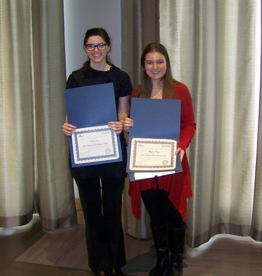 2017 Catherine Block Memorial Fund Prize Recipients:<br /> Rachel Clune and Merjema Purak<br /> <br /> The Catherine Block Memorial Fund Prize was established in memory of Catherine Block, an exceptional Chemistry student here at the University. It is awarded each year to a woman in the junior class in recognition of her outstanding ability and achievement in the field of science. Selection is based on recommendations by the respective departments, which are evaluated by a committee appointed by the Dean of the College. The award consists of a cash prize and certificate.