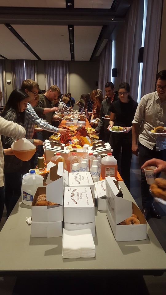 The Graduate Student Committee put on a great spread for lunch.  Panera Bread soup and sandwiches,  donuts, cider and more from Shutts Apple Mill. Delicious!